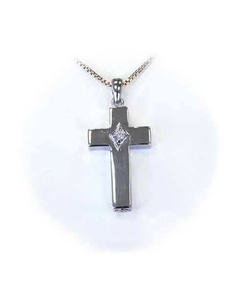 Cross Necklace with Cubic Zirconia Stone
